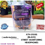 Audio Technica ATH S100is | ATH-S100is Hitam STREET MONITORING HEADPHONES Garansi Resmi 1 Tahun | Triple3music